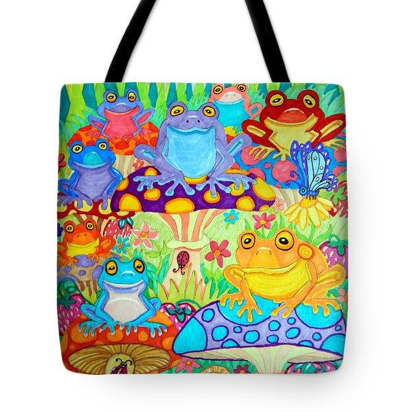 Happy Frogs In Mushroom Valley Tote Bag