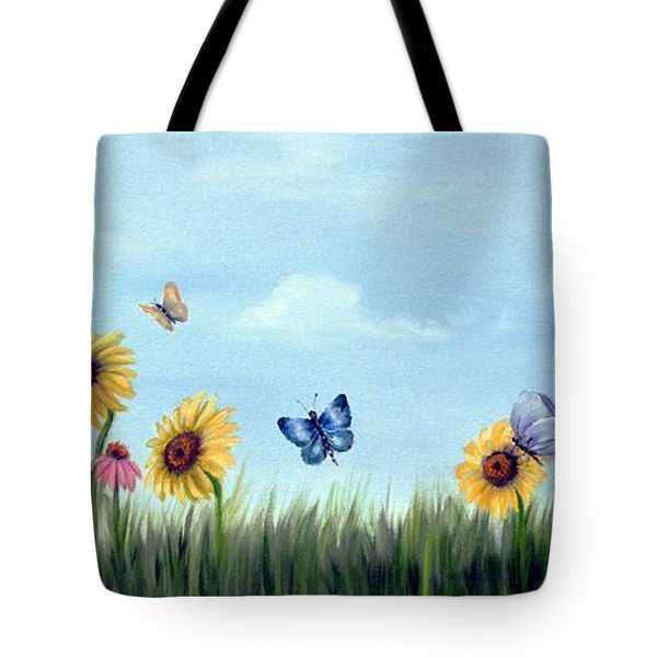 Tote Bag featuring the painting Happy Garden by Carol Sweetwood