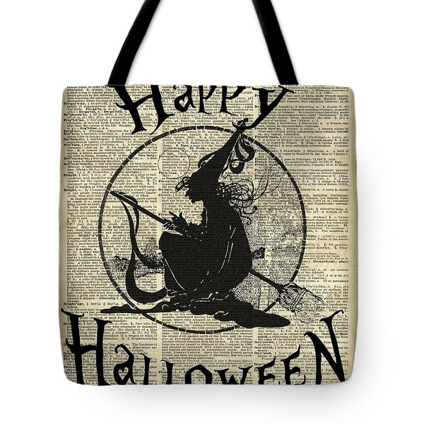 Happy Halloween Witch With Broom Dictionary Artwork Tote Bag
