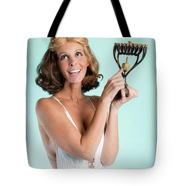 Happy Hanukkah 3 Tote Bag by Lisa Piper