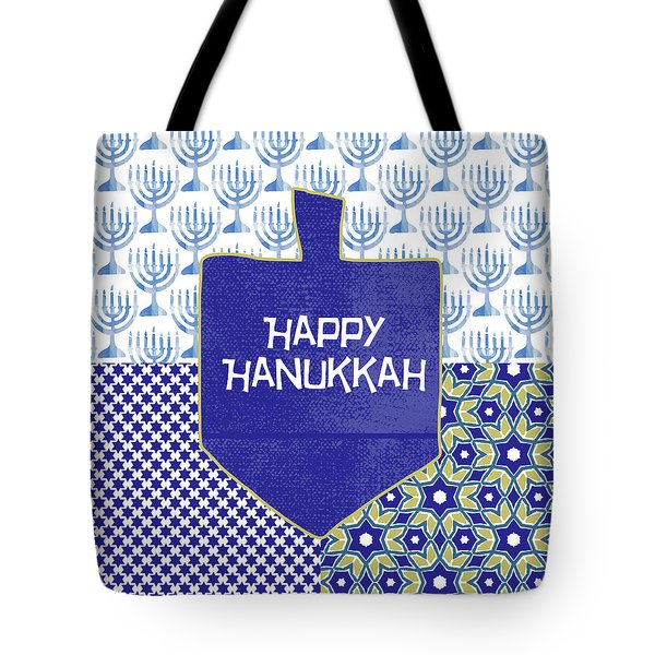 Happy Hanukkah Dreidel 1- Art By Linda Woods Tote Bag