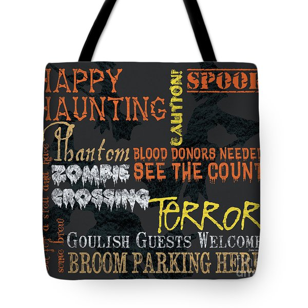 Happy Haunting Typography Tote Bag