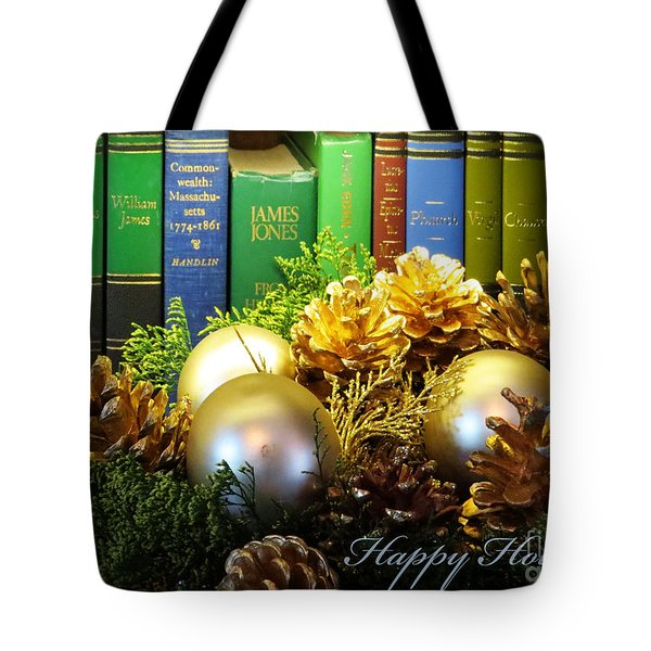 Happy Holidays Books Tote Bag