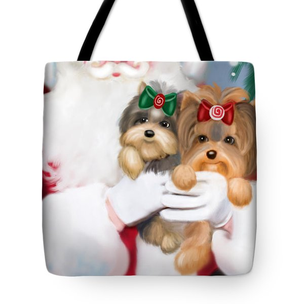 Tote Bag featuring the painting Happy Holidays by Catia Lee