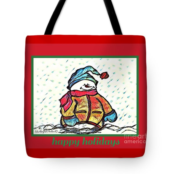 Happy Holidays Snowman Tote Bag