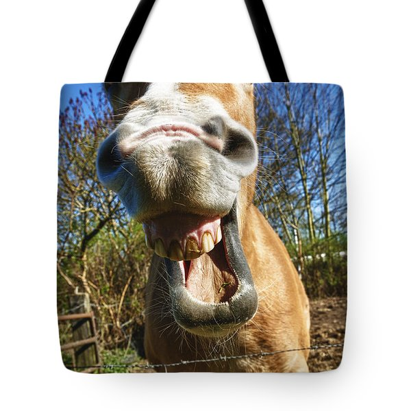 Tote Bag featuring the photograph Happy Horse by Hans Engbers