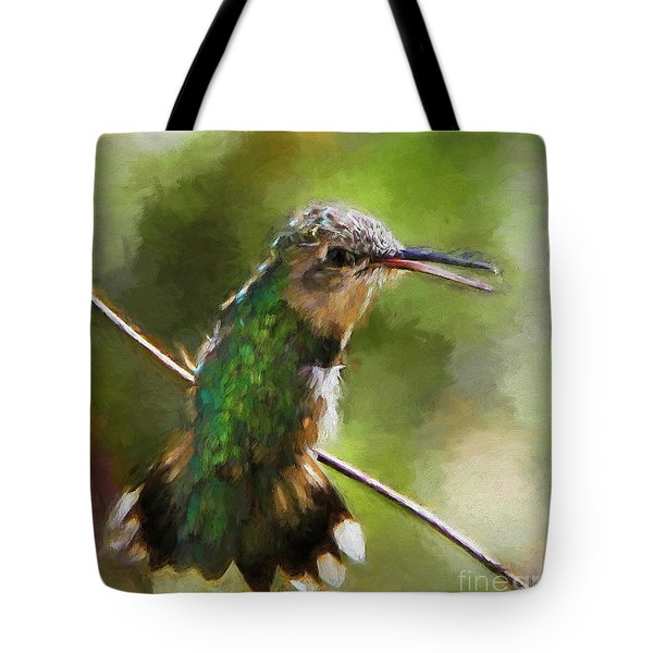 Happy Hummingbird Tote Bag by Tina  LeCour