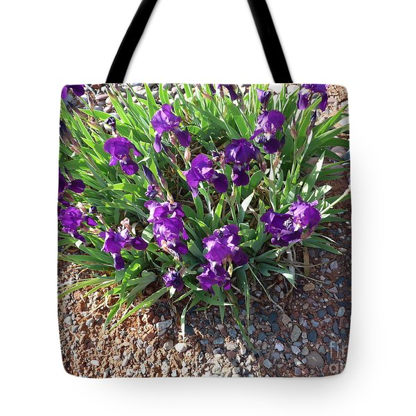 Happy Iris Blooming In Sedona Tote Bag