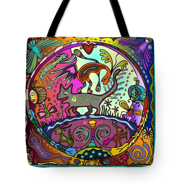 Tote Bag featuring the digital art Happy Kitties by Marti McGinnis