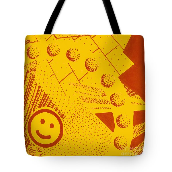Tote Bag featuring the painting Happy by Maria Langgle