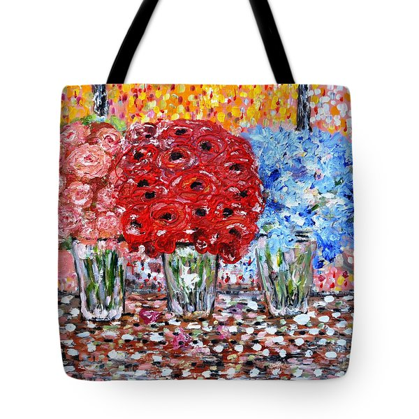 Tote Bag featuring the painting Happy Morning by Evelina Popilian