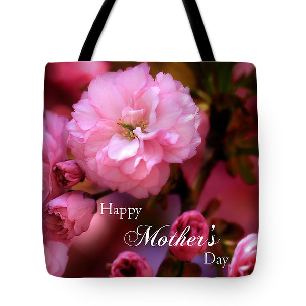 Tote Bag featuring the photograph Happy Mothers Day Spring Pink Cherry Blossoms by Shelley Neff