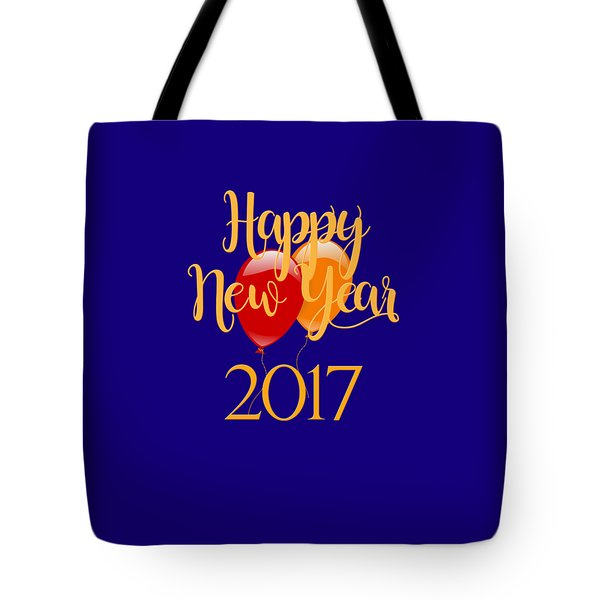 Tote Bag featuring the digital art Happy New Year 2017 With Balloons by Heidi Hermes