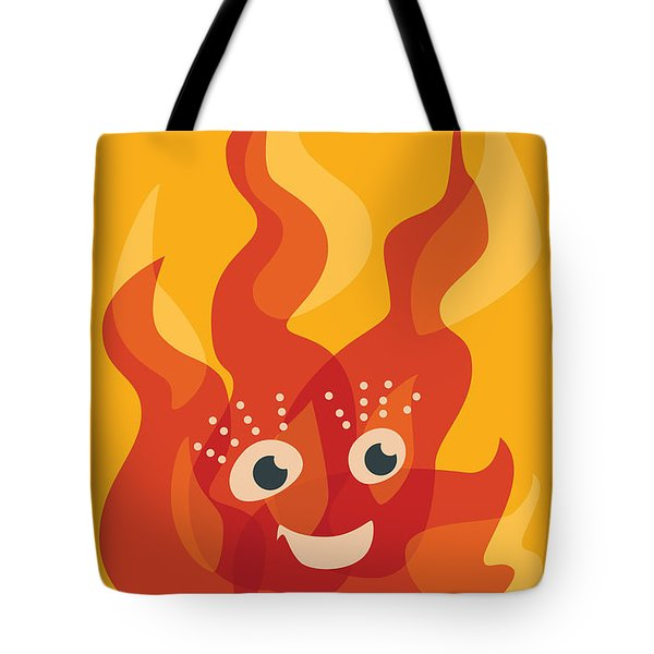 Happy Orange Burning Fire Character Tote Bag