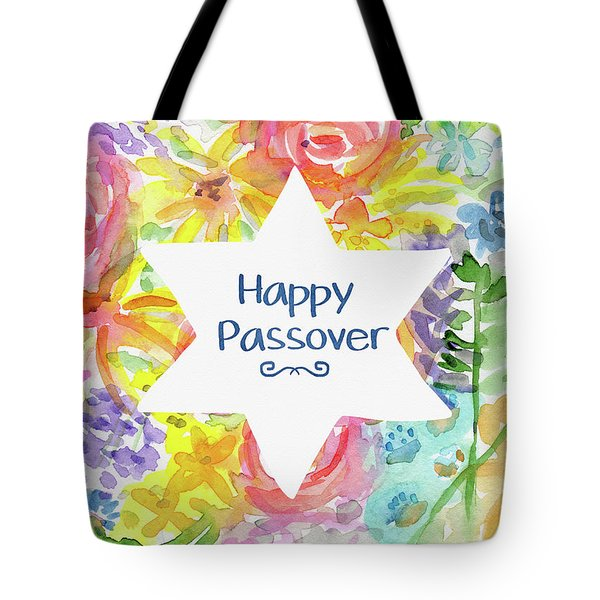 Happy Passover Floral- Art By Linda Woods Tote Bag