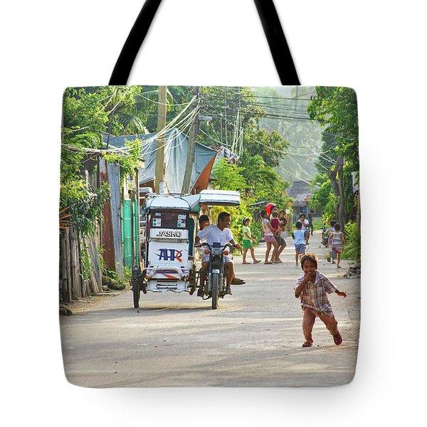 Happy Philippine Street Scene Tote Bag by James BO  Insogna