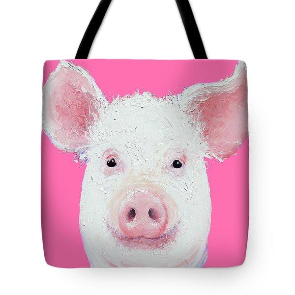 Happy Pig Portrait Tote Bag by Jan Matson