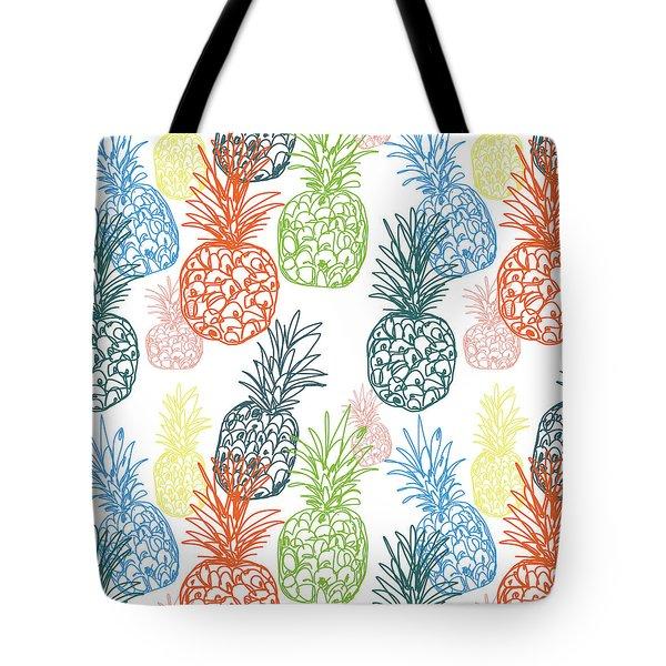 Happy Pineapple- Art By Linda Woods Tote Bag by Linda Woods