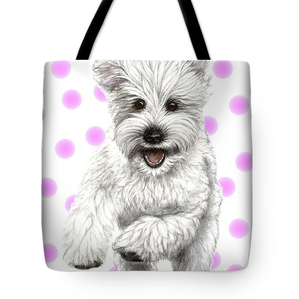 Tote Bag featuring the drawing Happy Pink Polka Dots Doggy  by Heidi Kriel
