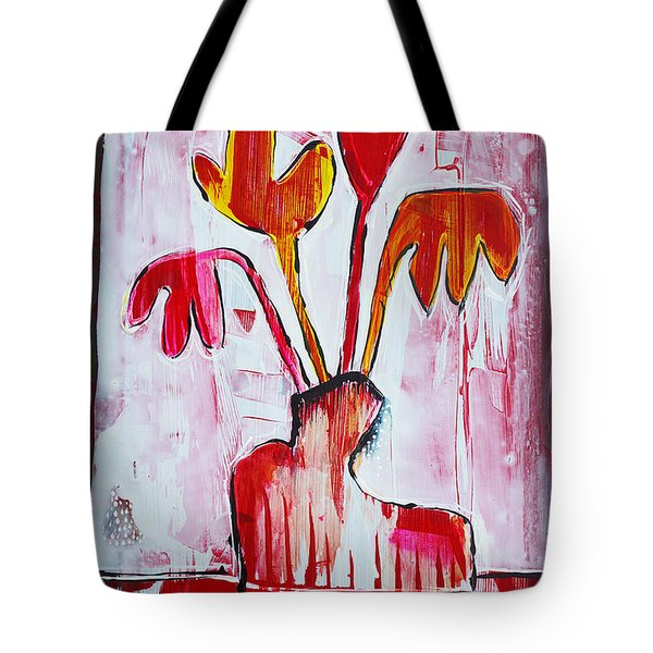 Happy Poppy Tote Bag by DAKRI Sinclair