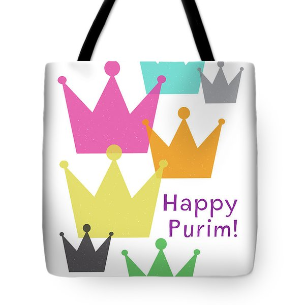 Tote Bag featuring the mixed media Happy Purim Crowns - Art By Linda Woods by Linda Woods