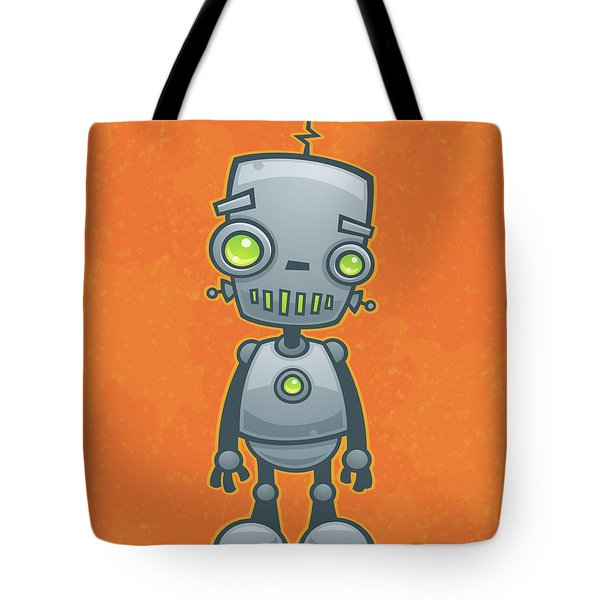 Happy Robot Tote Bag by John Schwegel