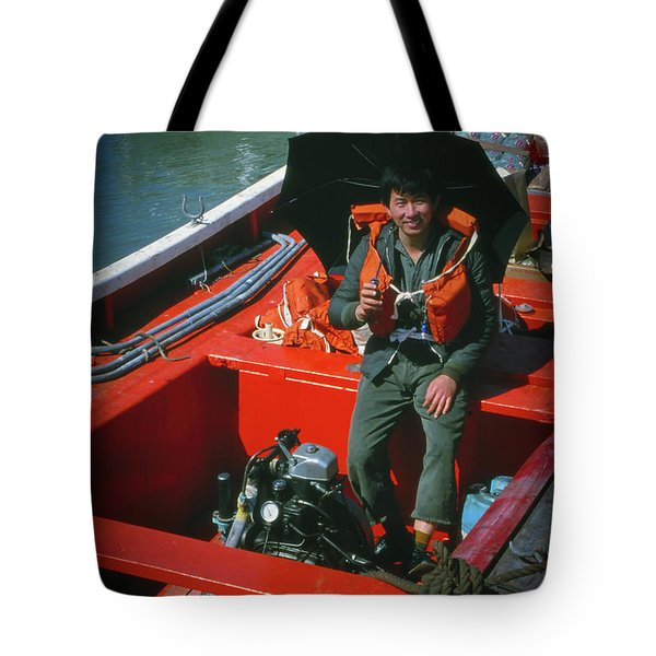Tote Bag featuring the photograph Happy Sailor In Orange Lifeboat by Samuel M Purvis III