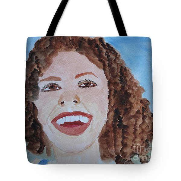 Tote Bag featuring the painting Happy by Sandy McIntire