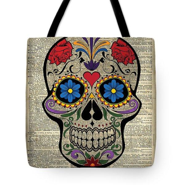 Happy Skull,sugar Skull,dia De Los Muertos,halloween Artwork Tote Bag