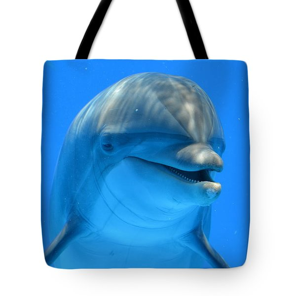 Happy Smiling Dolphin Tote Bag by Richard Bryce and Family