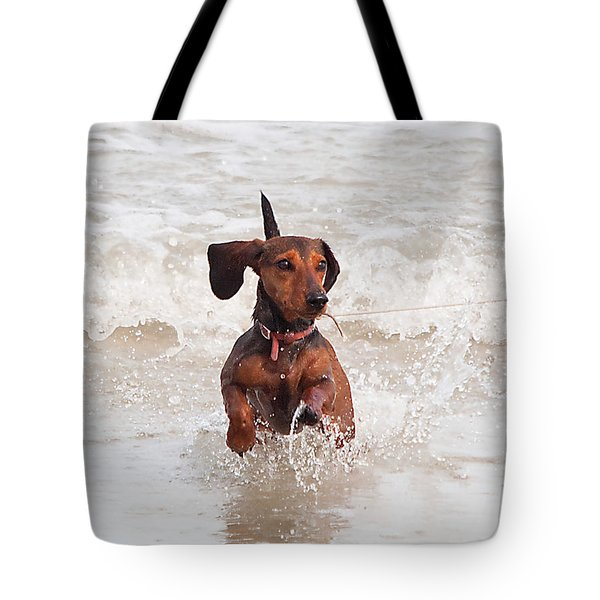 Happy Surf Dog Tote Bag