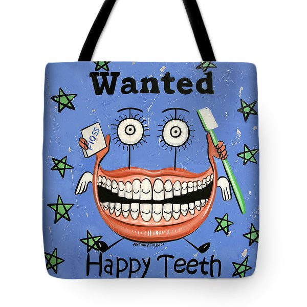 Tote Bag featuring the painting Happy Teeth by Anthony Falbo