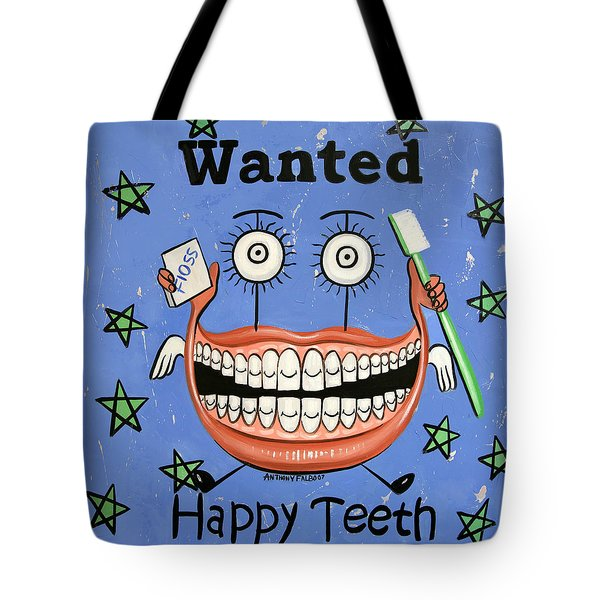 Happy Teeth Tote Bag by Anthony Falbo