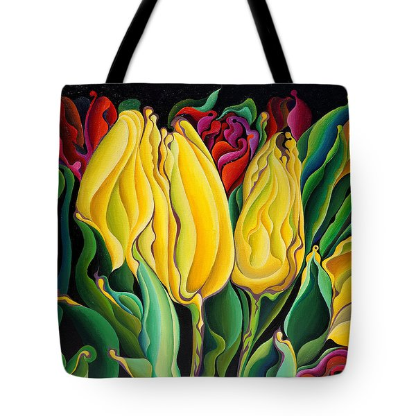Happy-time Yellow Three-lips Tote Bag