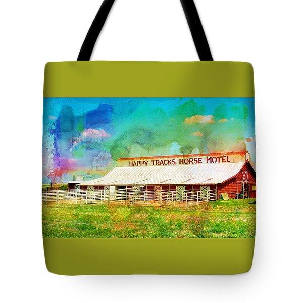 Happy Tracks Horse Motel Tote Bag