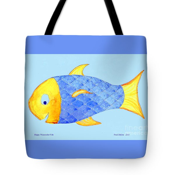 Happy Watercolor Fish Tote Bag