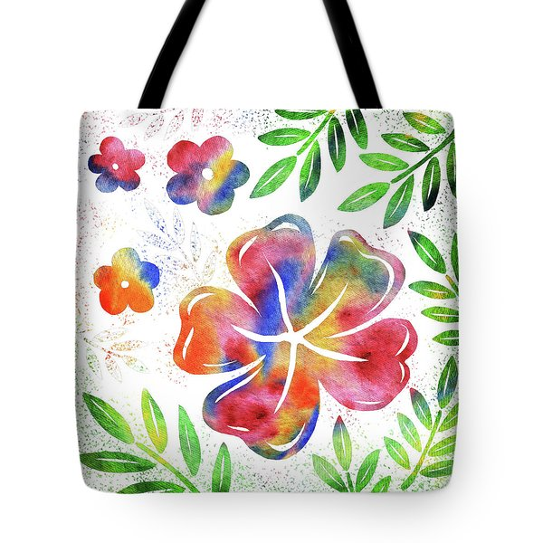 Happy Watercolor Flowers Tote Bag