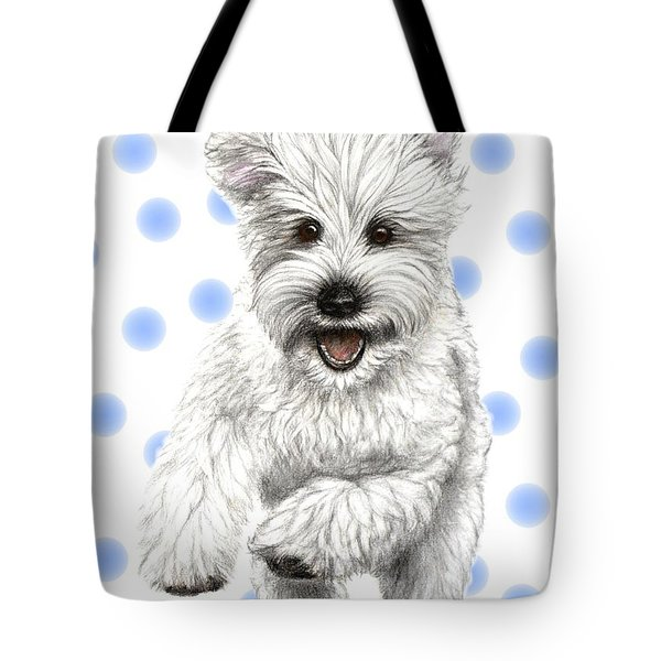 Tote Bag featuring the drawing Happy Blue Polka Dots Doggy by Heidi Kriel