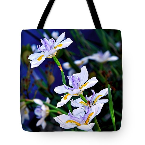 Happy Wild Iris Tote Bag by Kaye Menner