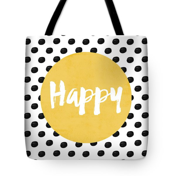 Happy Yellow And Dots Tote Bag by Allyson Johnson