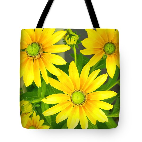 Happy Yellow Summer Cone Flowers In The Garden Tote Bag