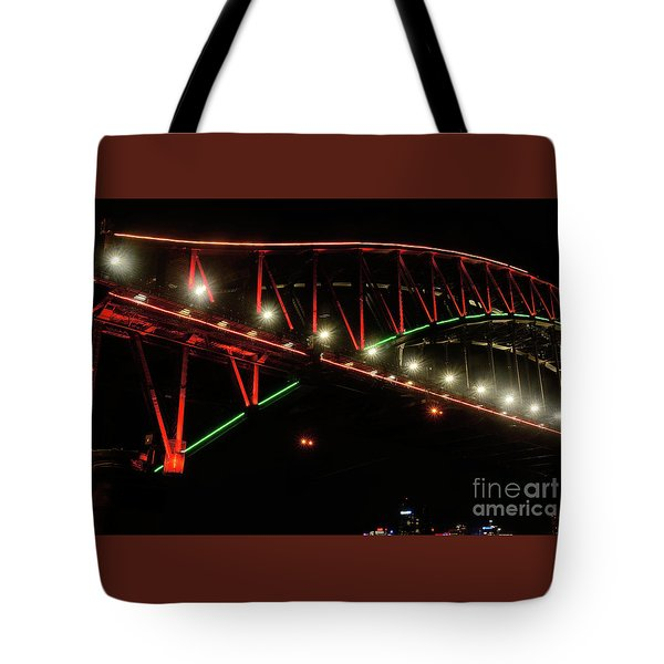 Tote Bag featuring the photograph Harbor Bridge Green And Red By Kaye Menner by Kaye Menner