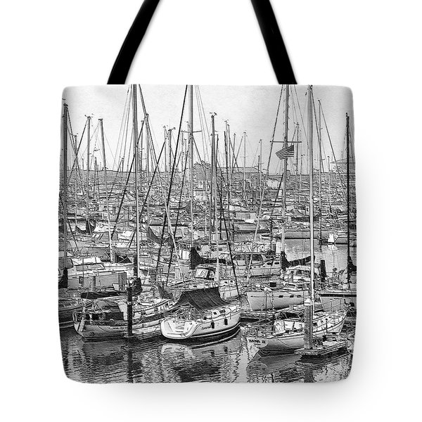 Tote Bag featuring the digital art Harbor II by Visual Artist Frank Bonilla