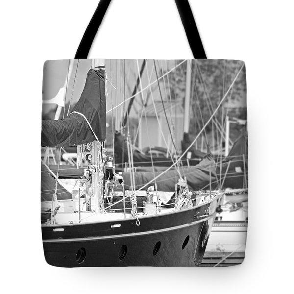 Harbor In Black And White Tote Bag
