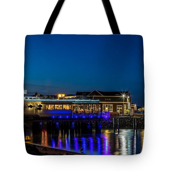 Harbor Lights During Blue Hour Tote Bag