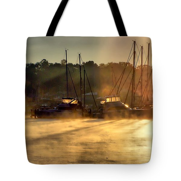 Tote Bag featuring the photograph Harbor Mist by Brian Wallace