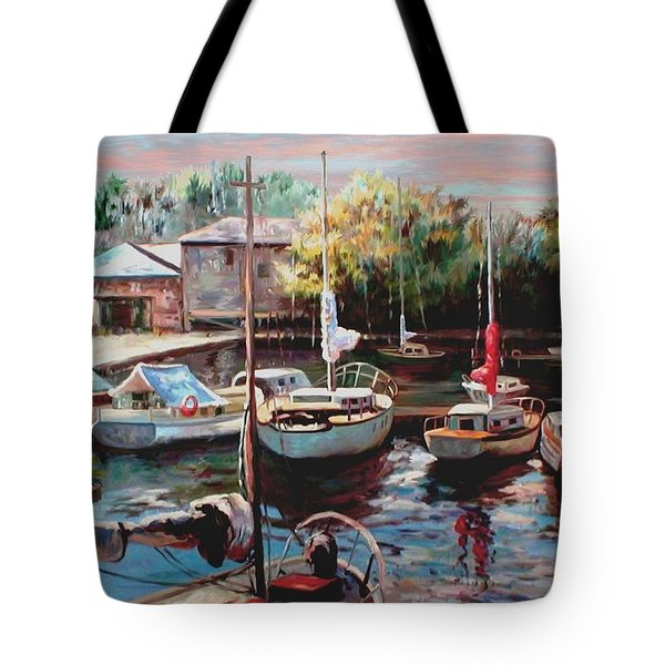 Harbor Sailboats At Rest Tote Bag by Ron Chambers
