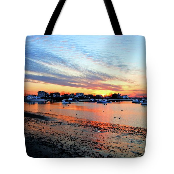 Tote Bag featuring the photograph Harbor Sunset At Low Tide by Wayne Marshall Chase