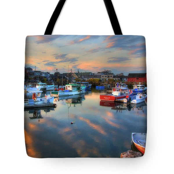 Tote Bag featuring the photograph Harbor Sunset In Rockport Ma by Joann Vitali