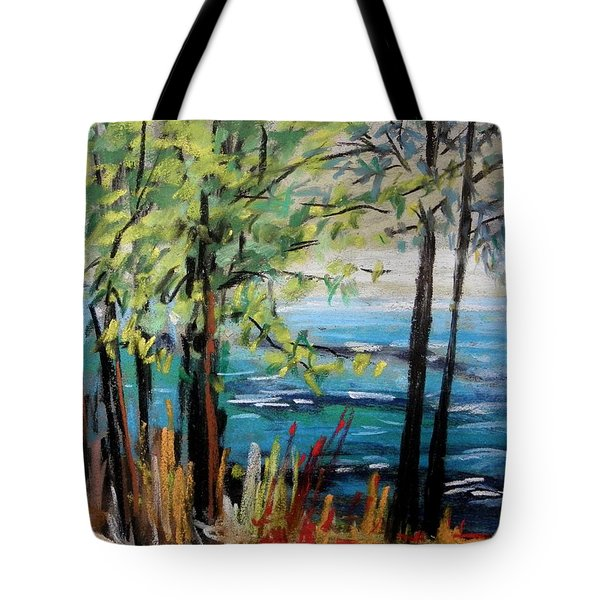 Tote Bag featuring the painting Harbor Trees by John Williams
